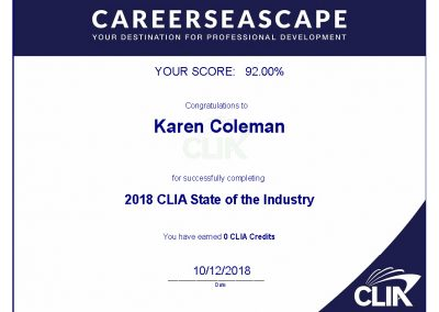 CLIA State of the Industry 2018 Certificate of Completion