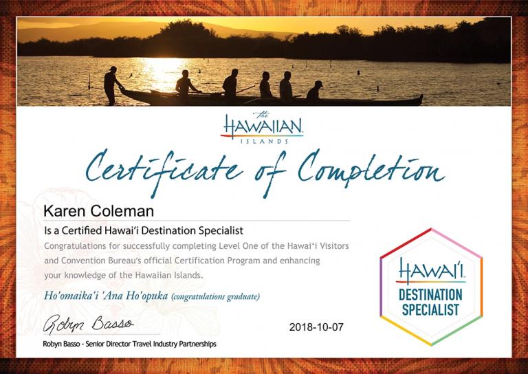 Karen Coleman Hawaii Destination Specialist Certificate