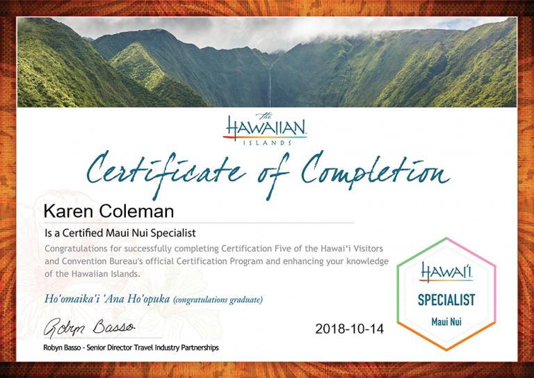 Karen-Coleman-Maui Nui Specialist Certification-Certificate