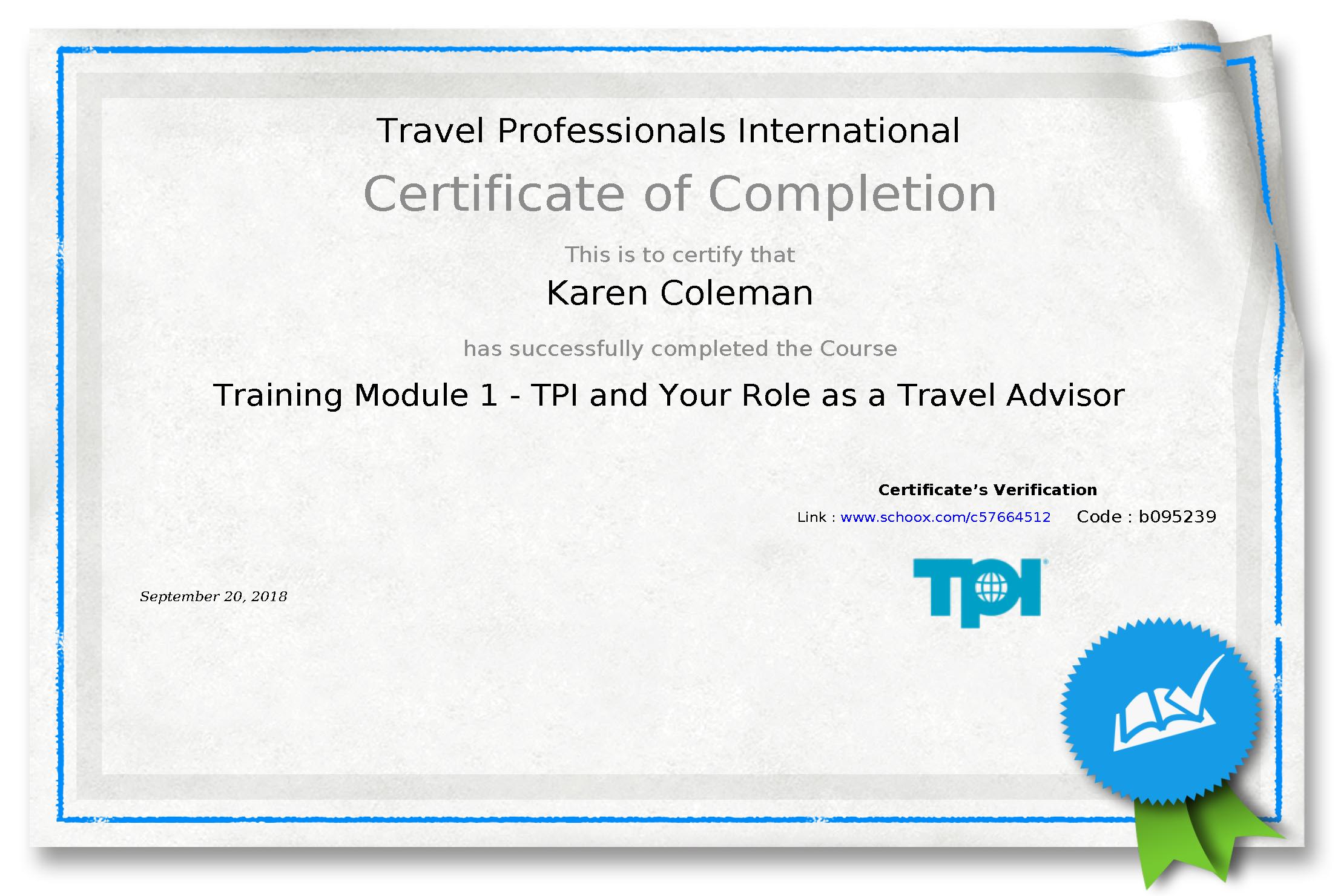 TPI Module 1 Certificate