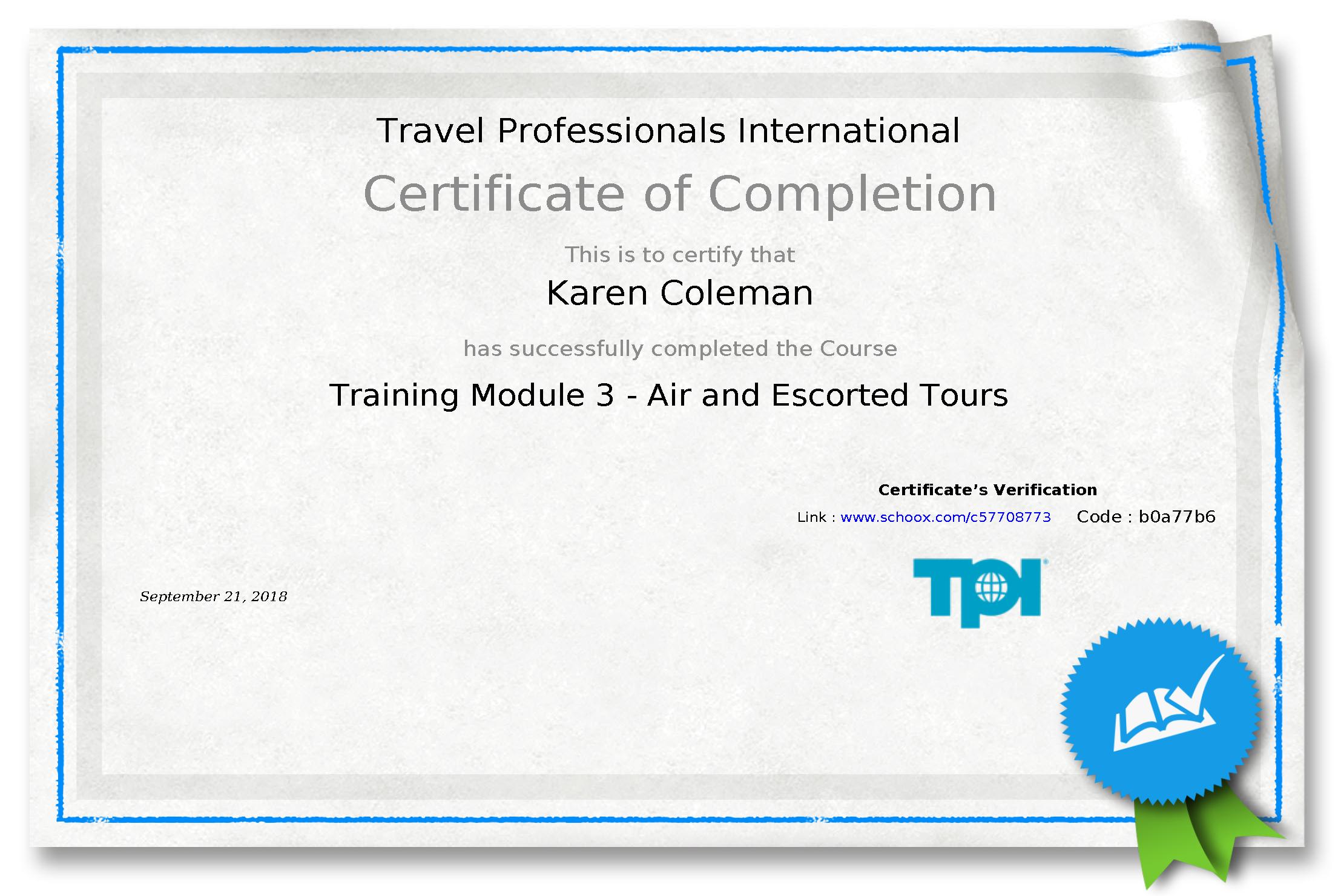 TPI Module 3 Certificate