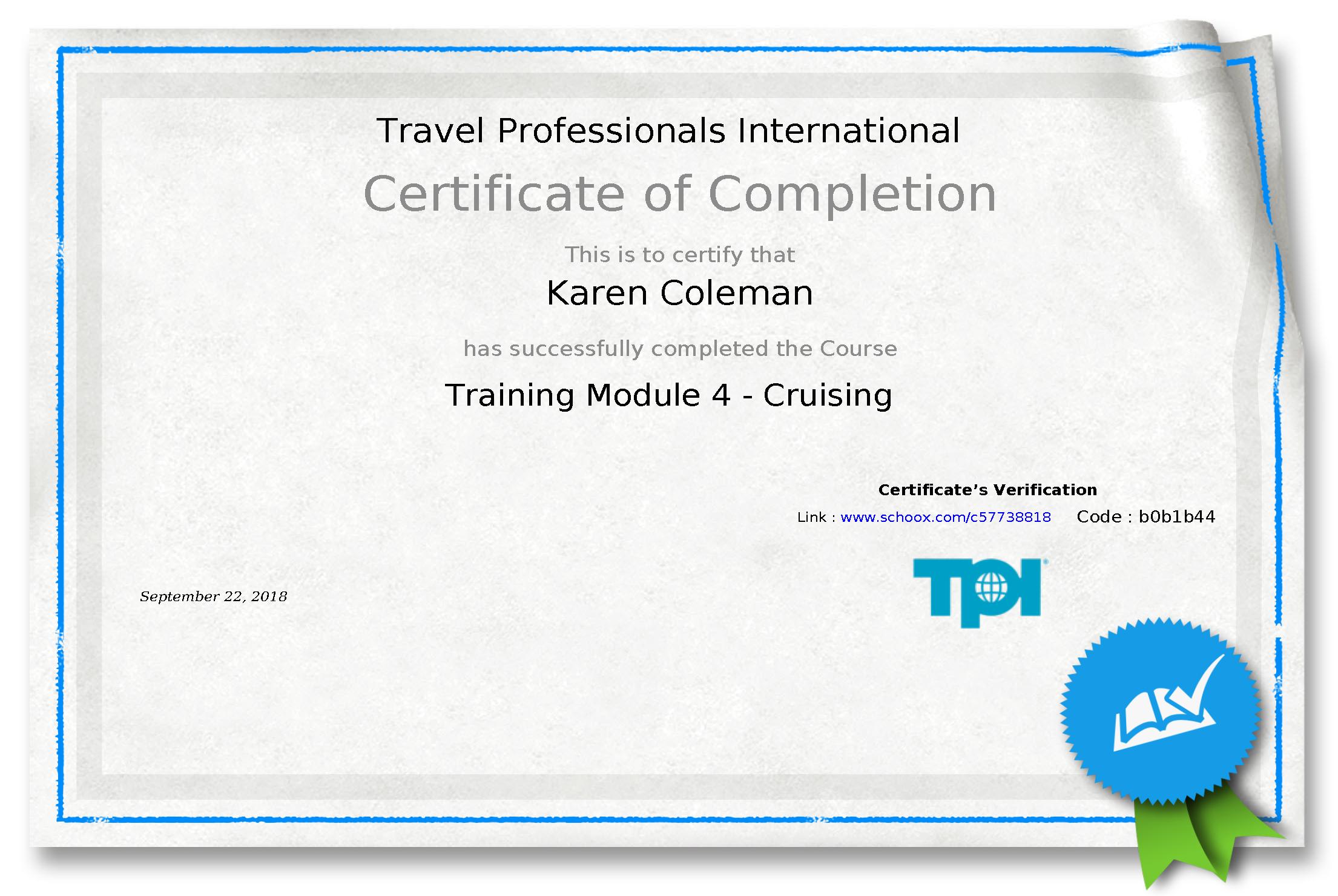 TPI Module 4 Certificate