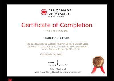 Air Canada Expert (ACE) Certificate of Completion