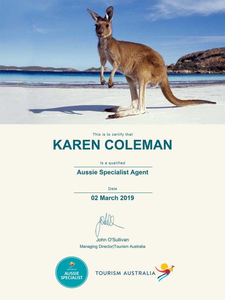 Tourism Australia Aussie Specialist Agent Certificate