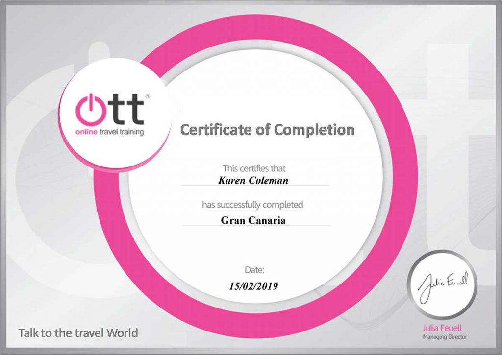 Gran Canaria Online Travel Training Certificate