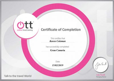 Gran Canaria Online Travel Training (OTT) Certification