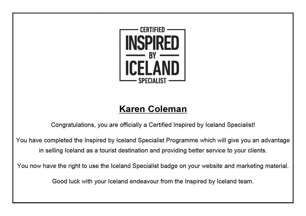 Certified Inspired by Iceland Specialist Certificate - completed January 29, 2019