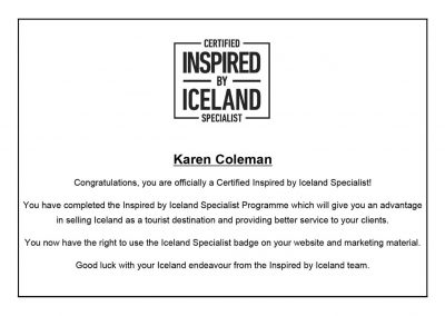 Certified Inspired by Iceland Specialist