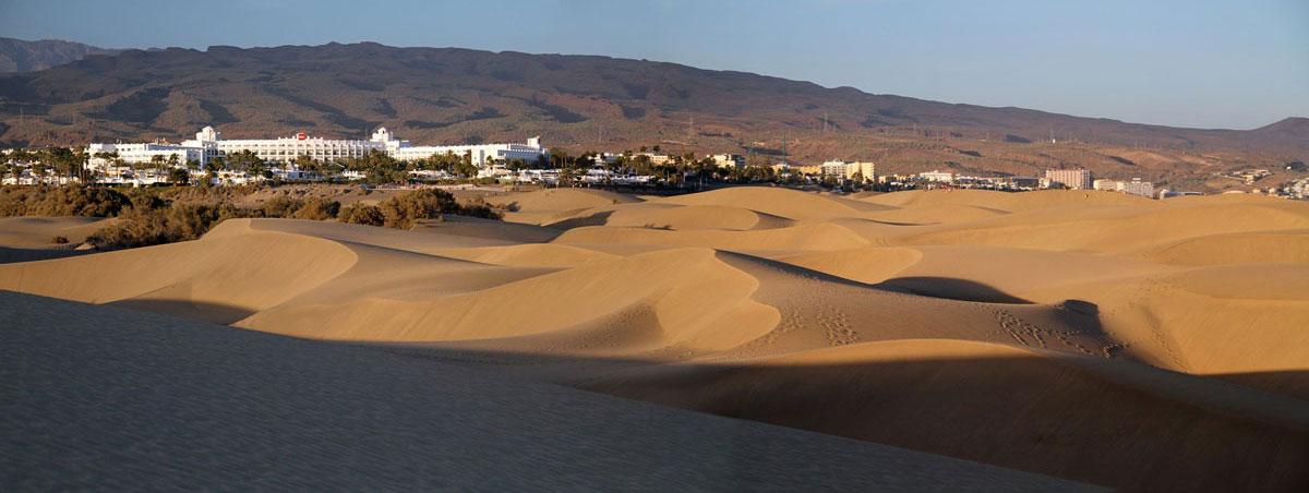 Mas Palomas Dunes with town