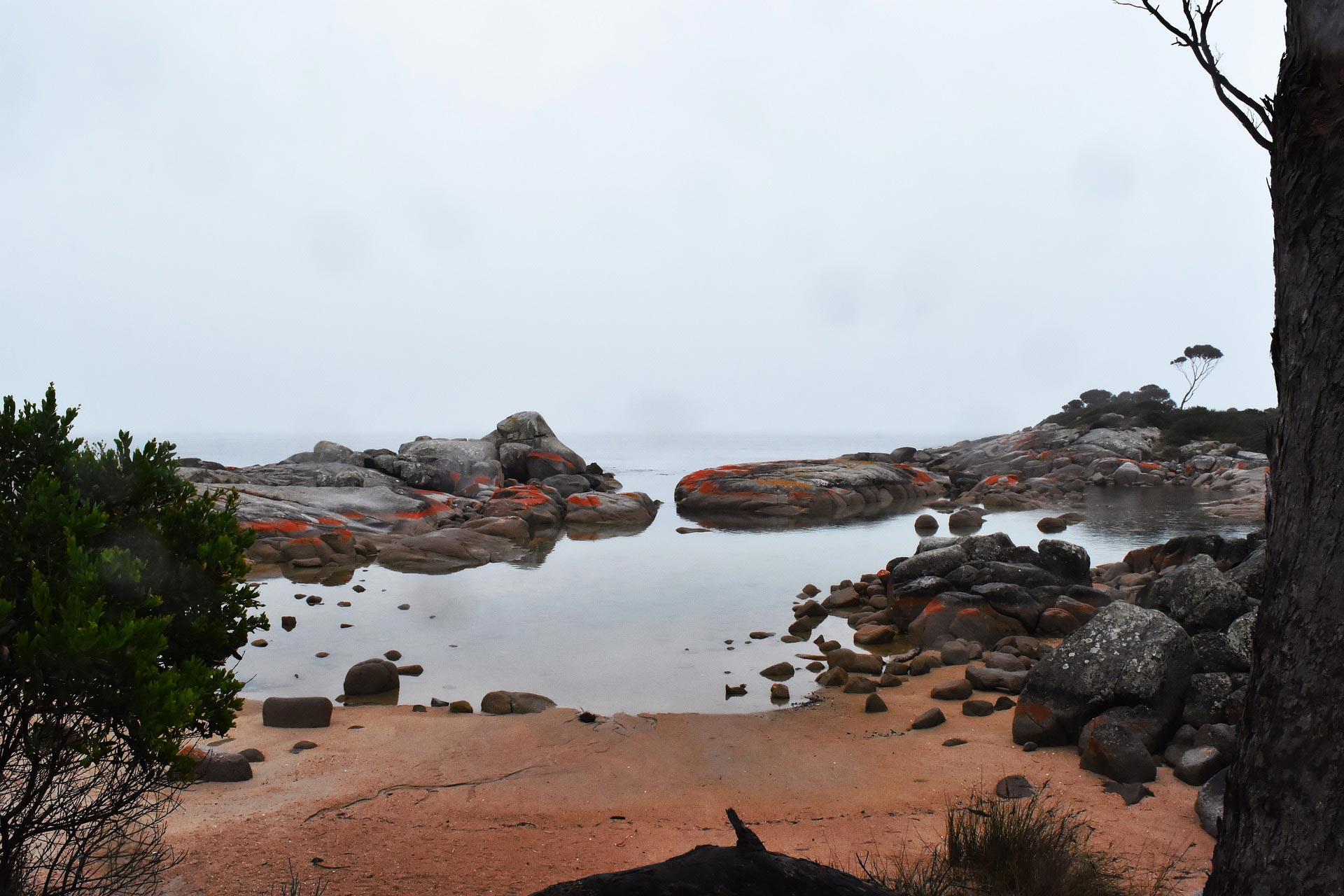 Orange tinged rocks at the Bay of Fires, Tasmania