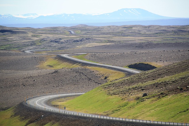 Paved roads in Iceland with lots of curves