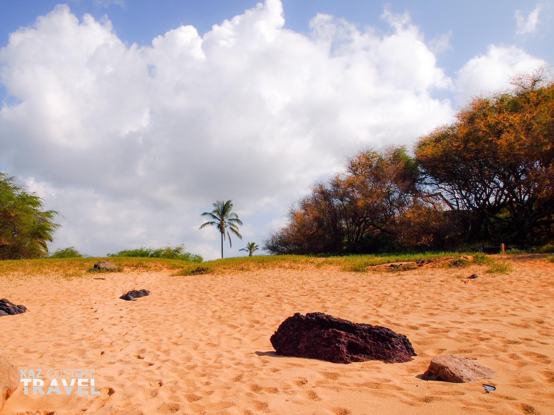 Footsteps on the beach at Molokai