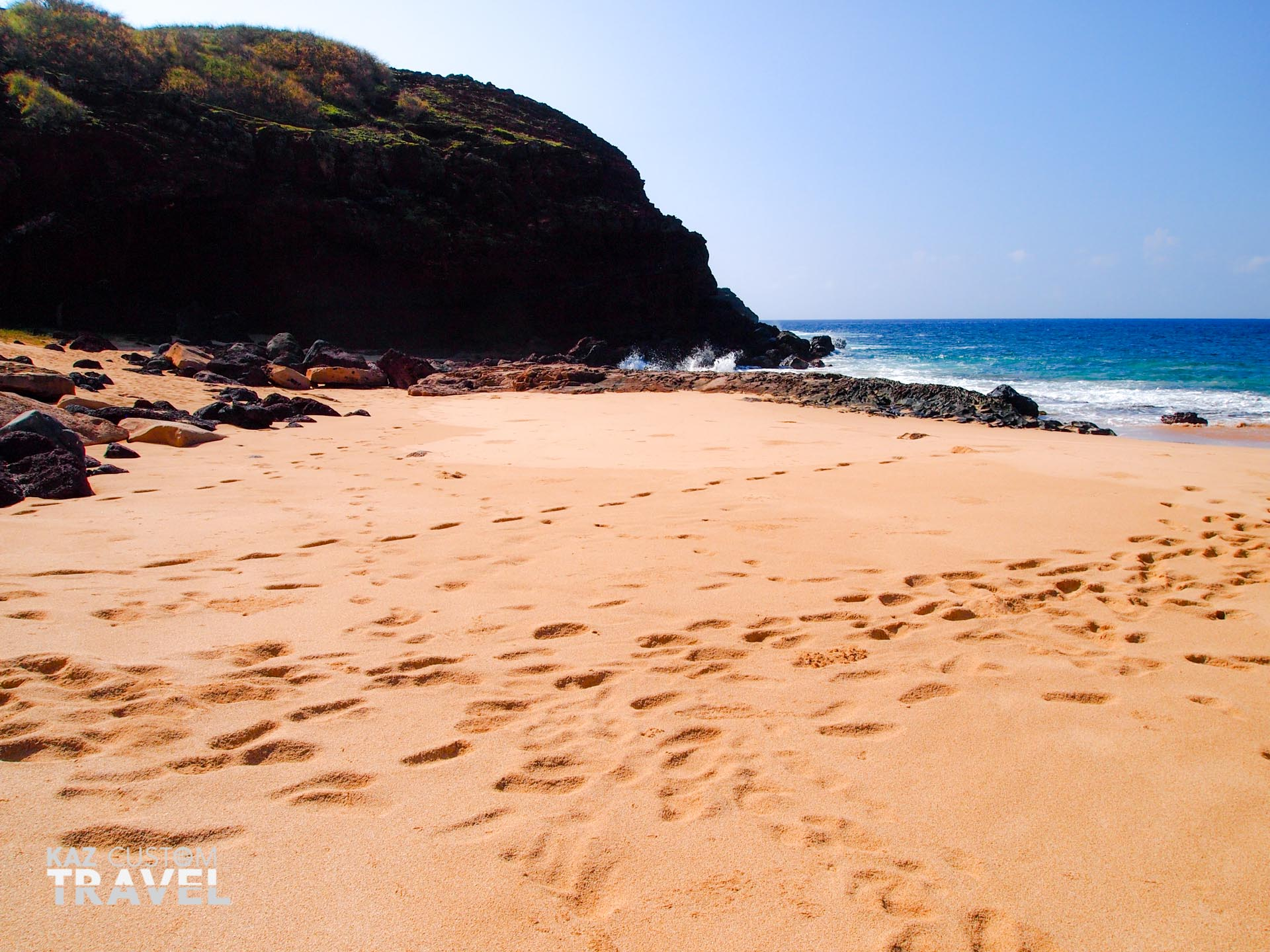 View south on the beach at Molokai