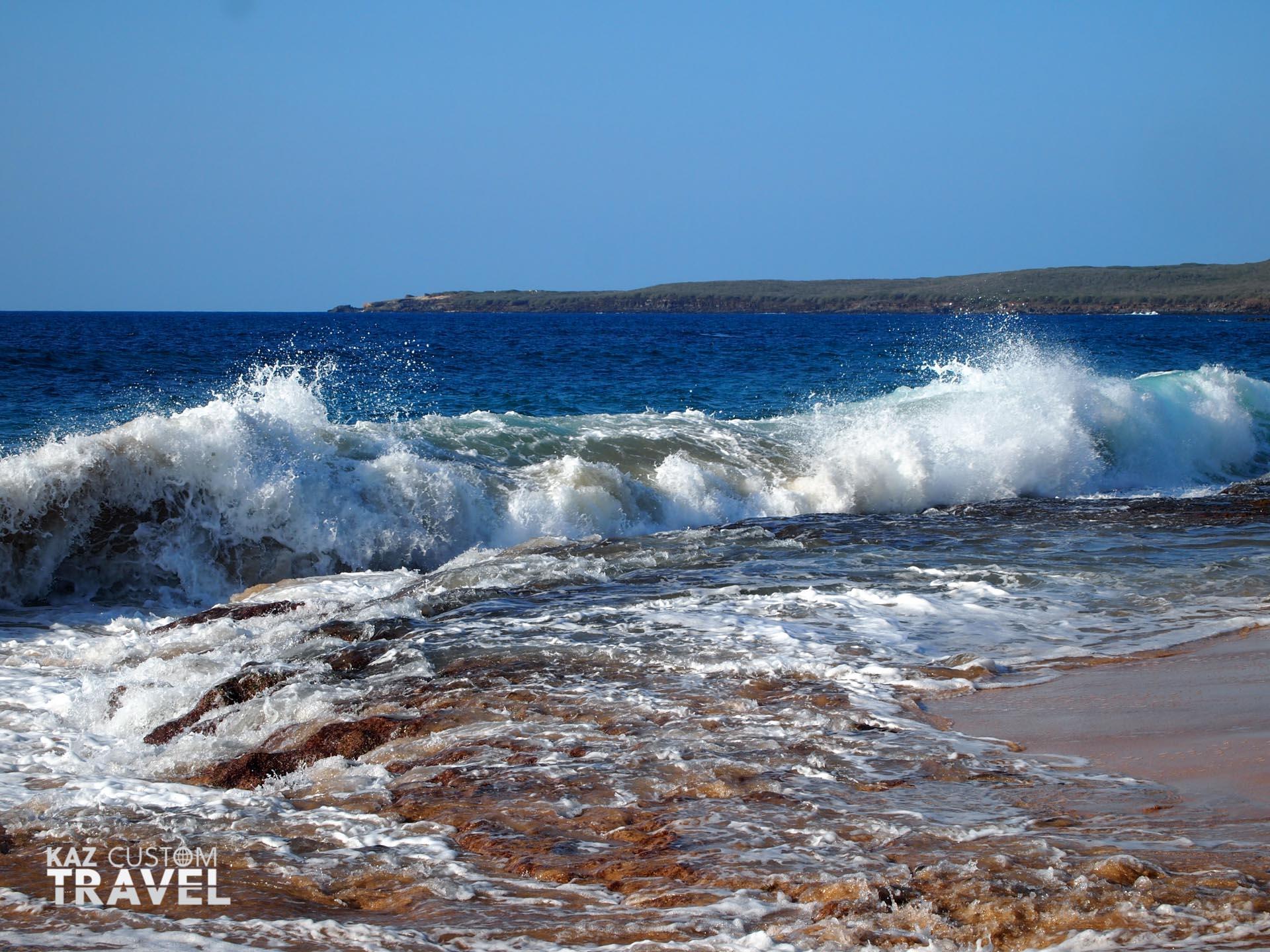 Waves on the beach in Molokai