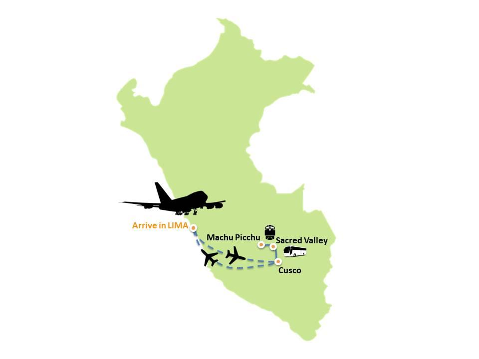 Map showing Enchanted Peru Tour route