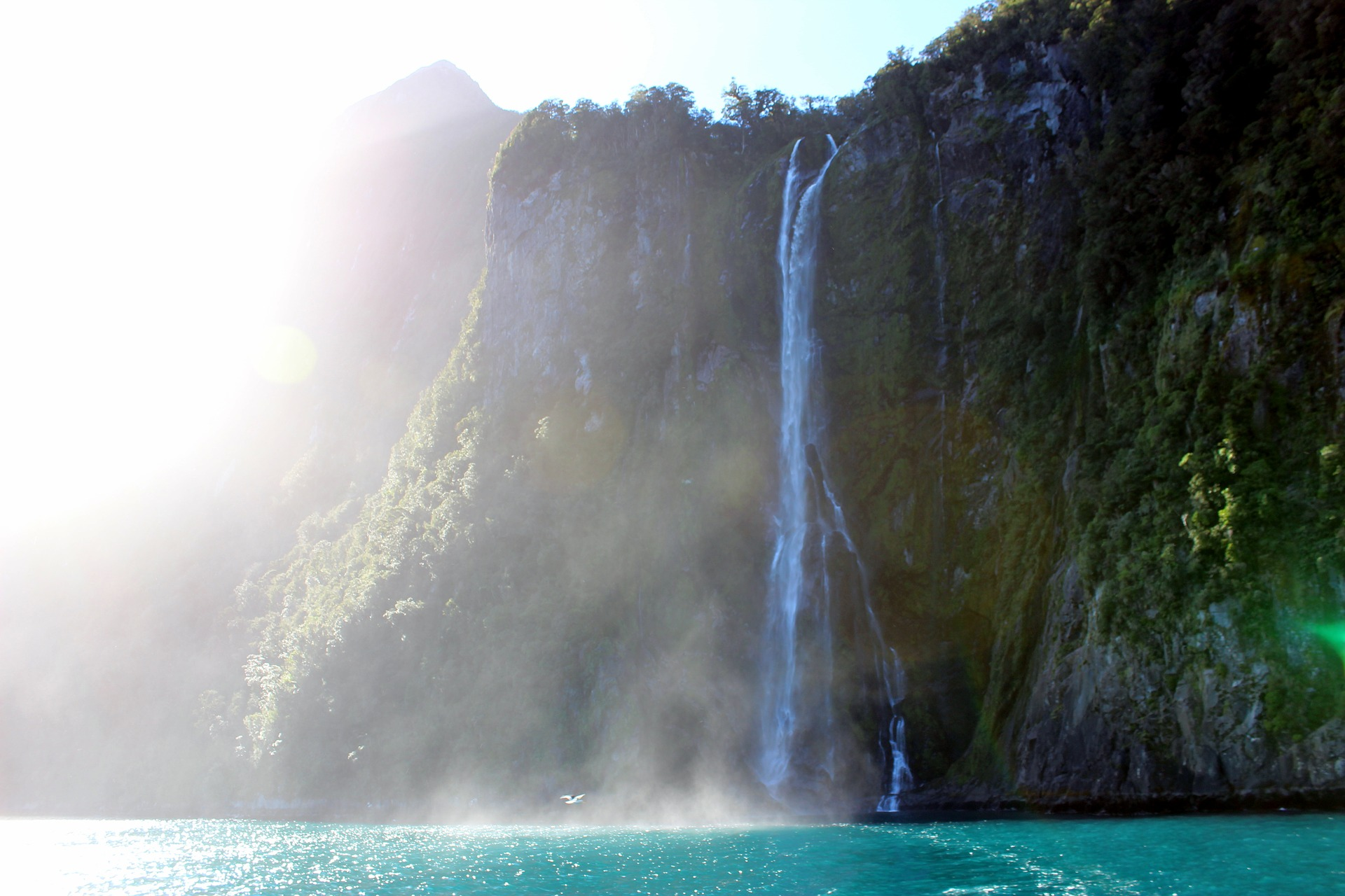 waterfall Milford Sound New Zealand