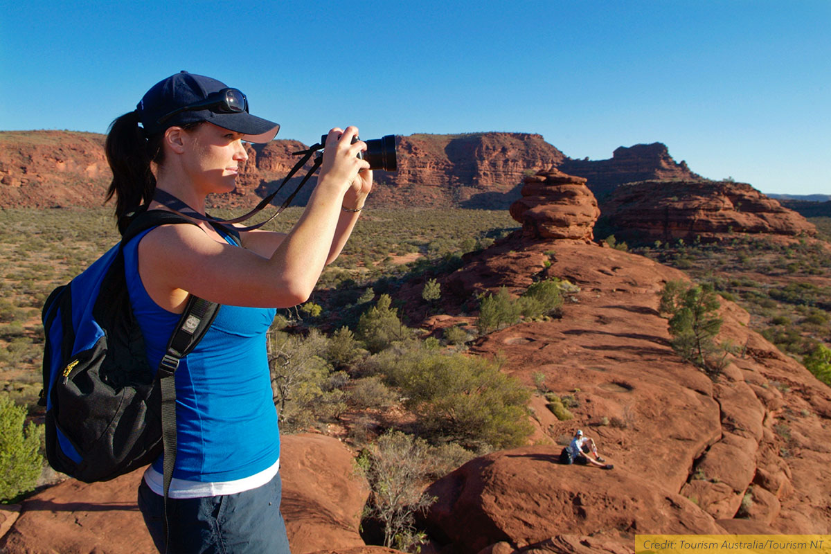 Female traveller exploring Red Centre Way, NT, Australia