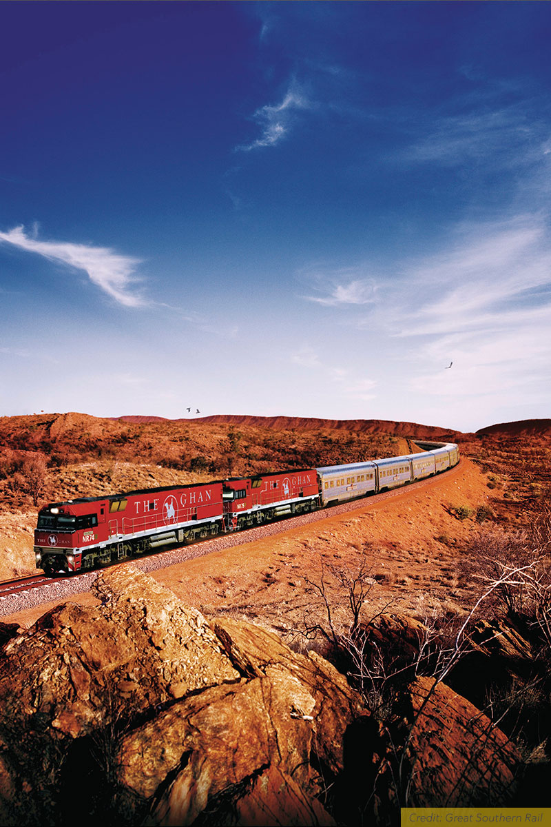 The Ghan train travelling across the Australian Outback