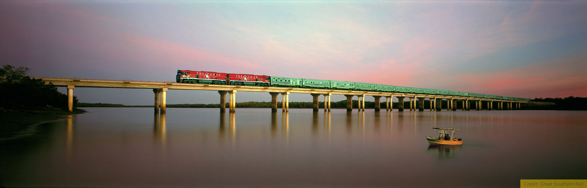 Panorama of The Ghan on the bridge over Elizabeth River, NT, Australia