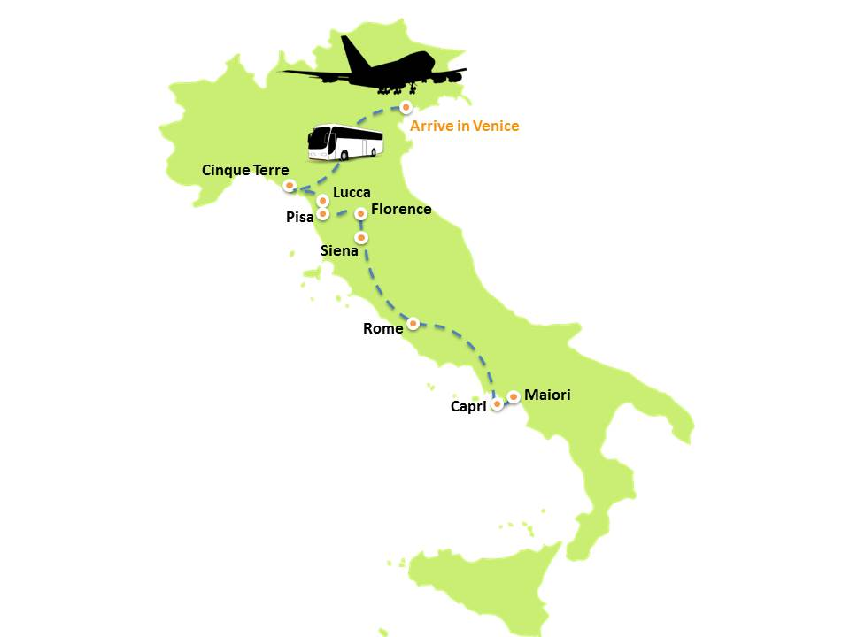Italy Odyssey Tour map