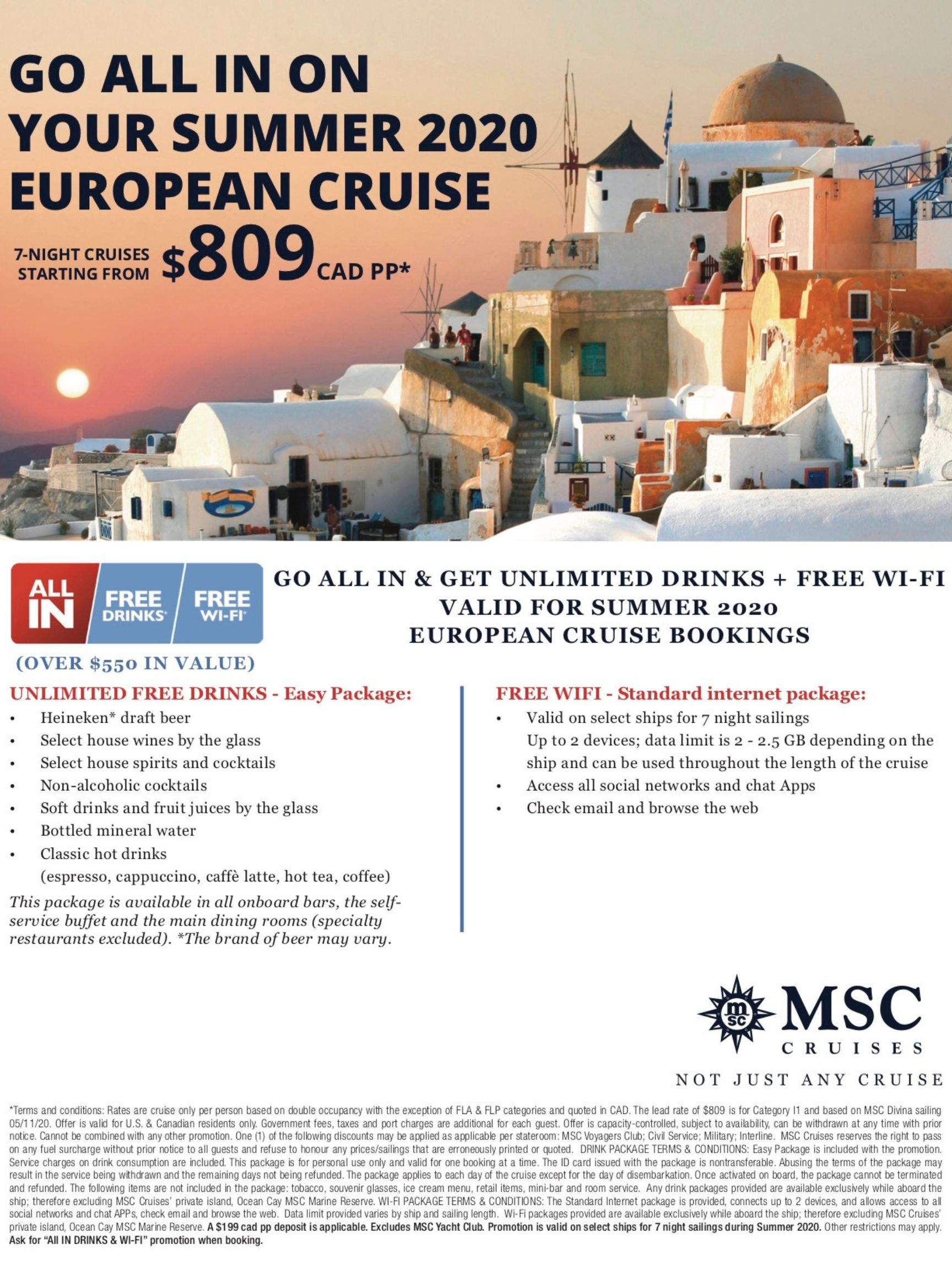 MSC Go All In On Your Summer 2020 European Cruise