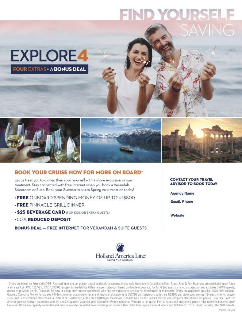 Holland America Explore4 - Oct 31, 2019 expiry