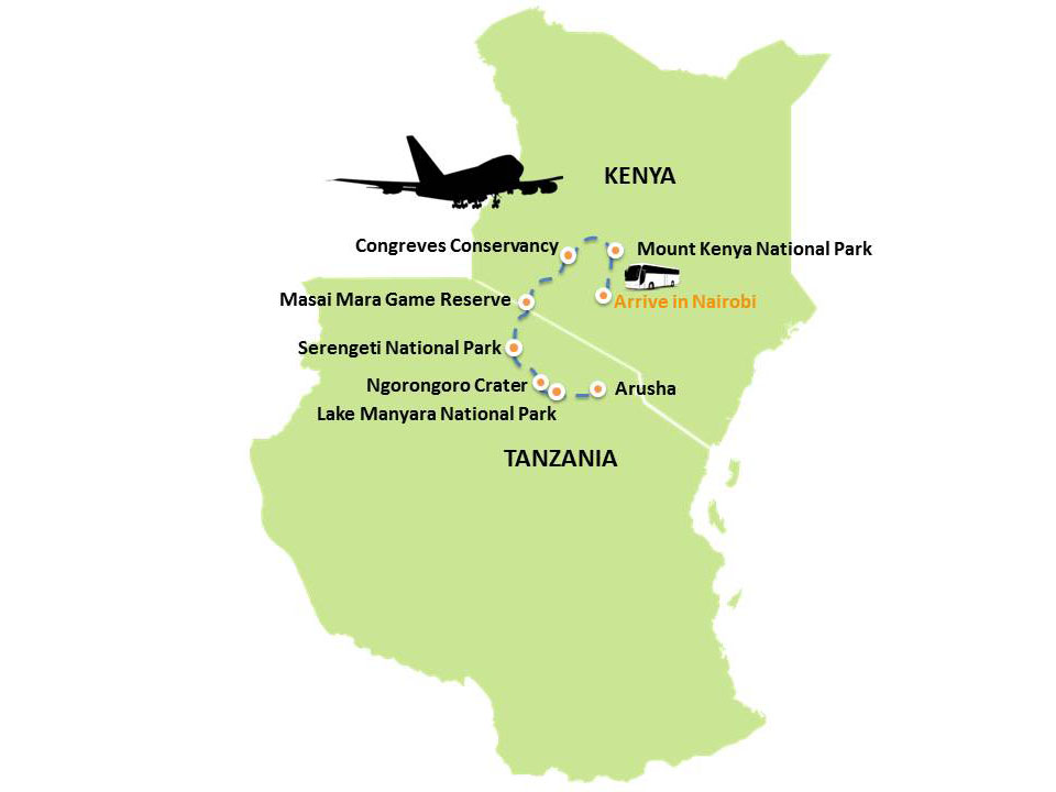 Kenya Tanzania, Africa Safrai Map