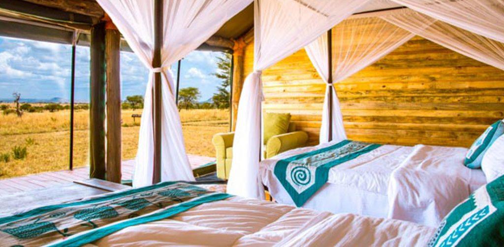 Beds at Serengeti Heritage Camp, Serengeti National Park, Tanzania, Africa