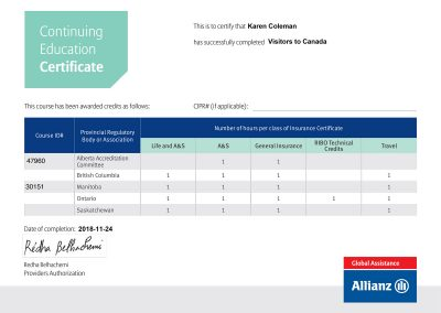 Allianz Visitors-to-Canada Certificate