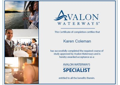 Avalon Waterways Specialist Certification