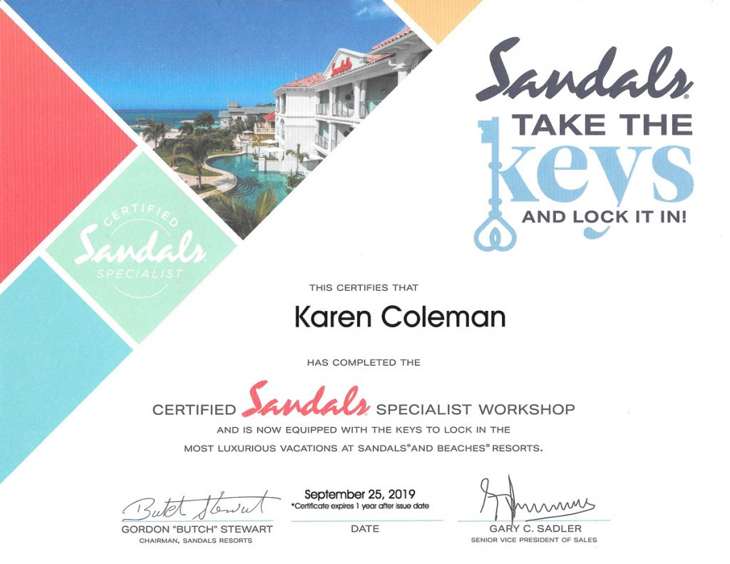 Certified Sandals Specialist Workshop Certificate Sep 25, 2019