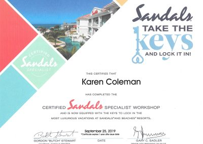 Certified Sandals Specialist Workshop Certificate
