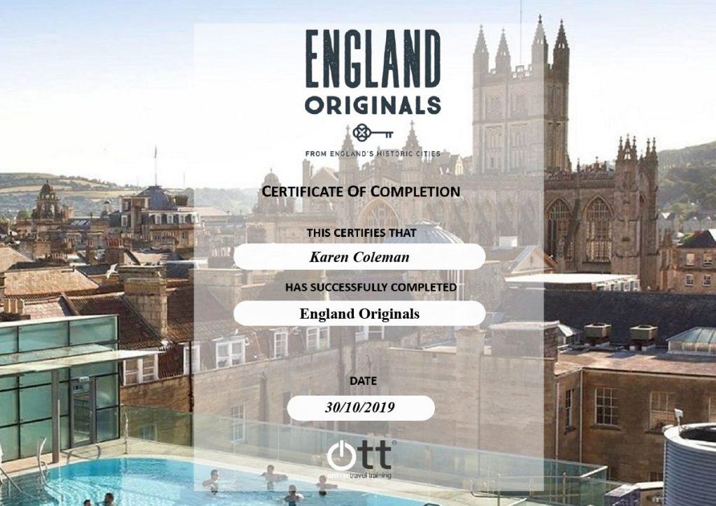 OTT England Originals Certificate of Completion