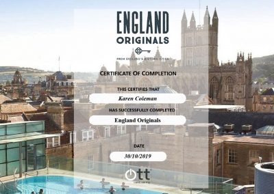 England Originals Certificate of Completion