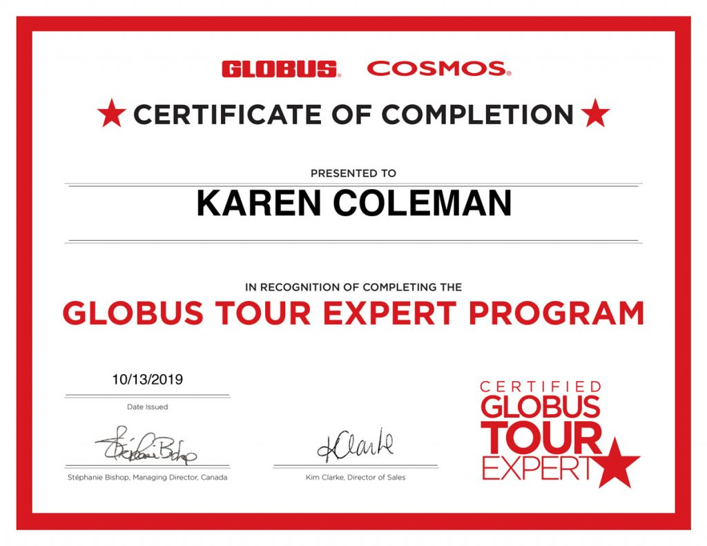 Certified Globus Tour Expert Program Certificate
