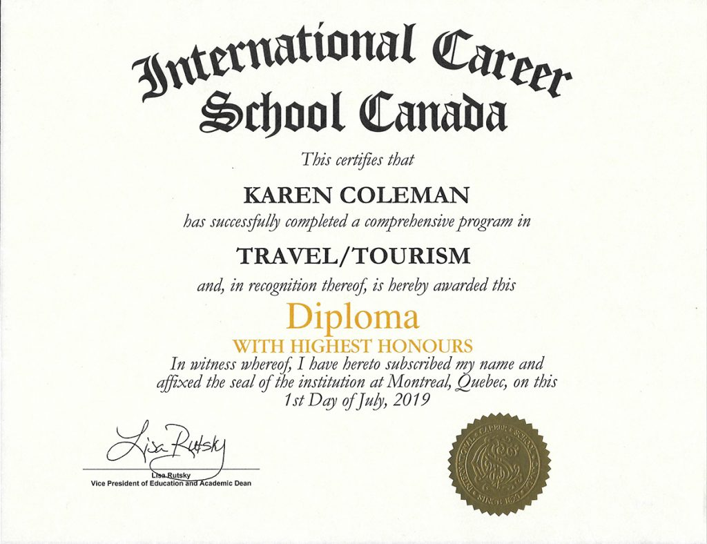 Certificate for ICS Travel & Tourism Diploma with the Highest Honours