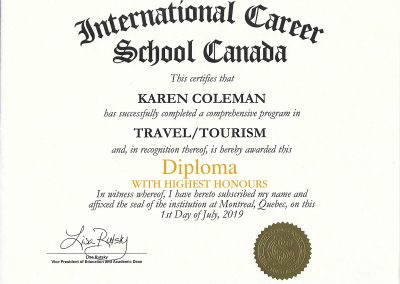 ICS Travel & Tourism Diploma with highest Honours