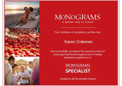 Monograms Specialist Certificate