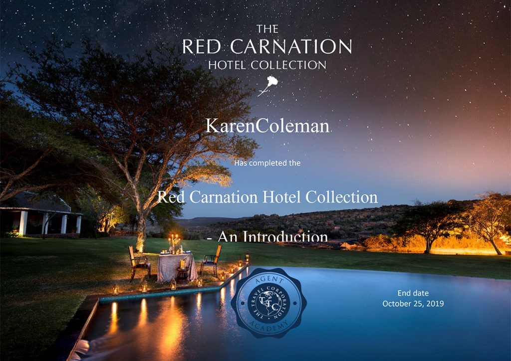 Certificate of Completion - Red Carnation Hotel Collection - An Introduction