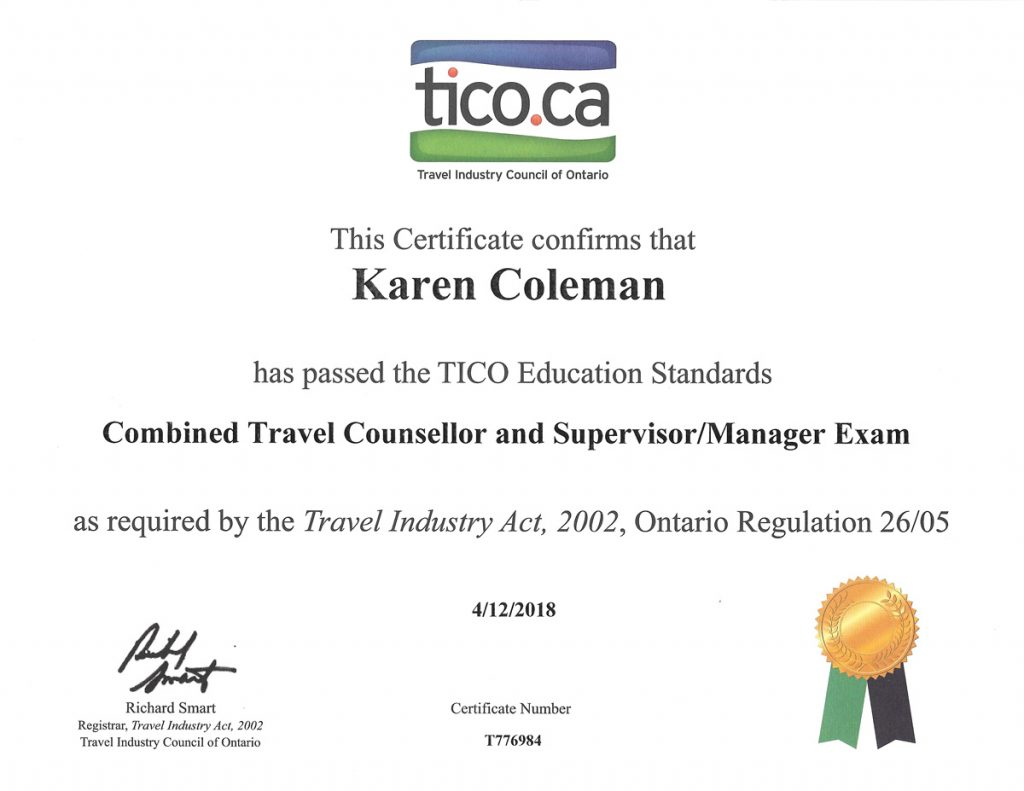 Certificate for the TICO Combined Travel Counsellor and Supervisor/Manager Exam