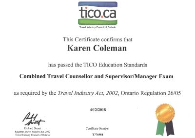 TICO Certification for Combined Travel Counsellor & Supervisor/Manager