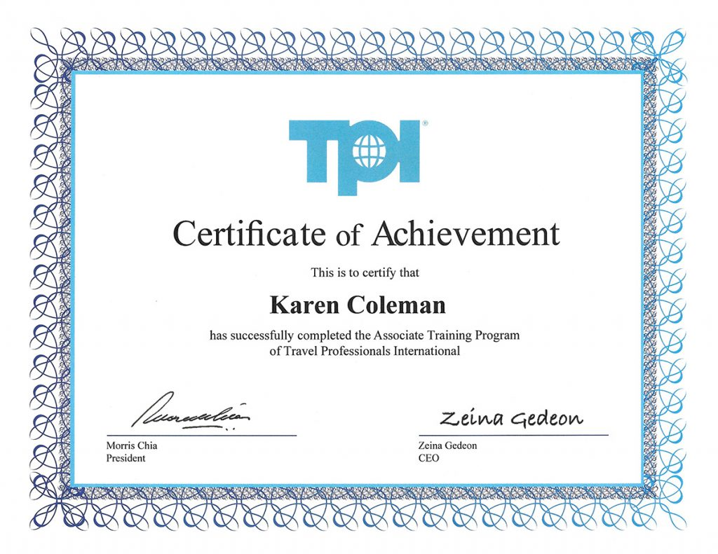 TPI Travel Associate Training Certificate of Achievement