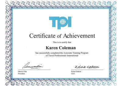 TPI Travel Professionals International Certificates