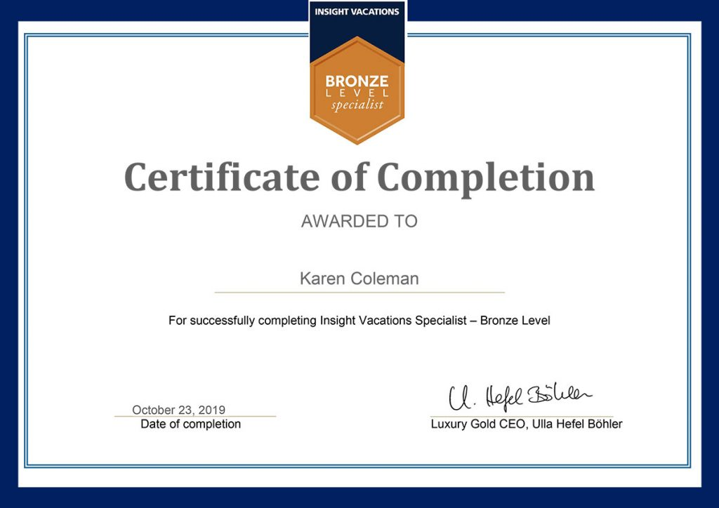 TTC Insight Vacations Bronze Level Specialist Certificate