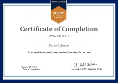 Insight Vacations Bronze Level Specialist Certification