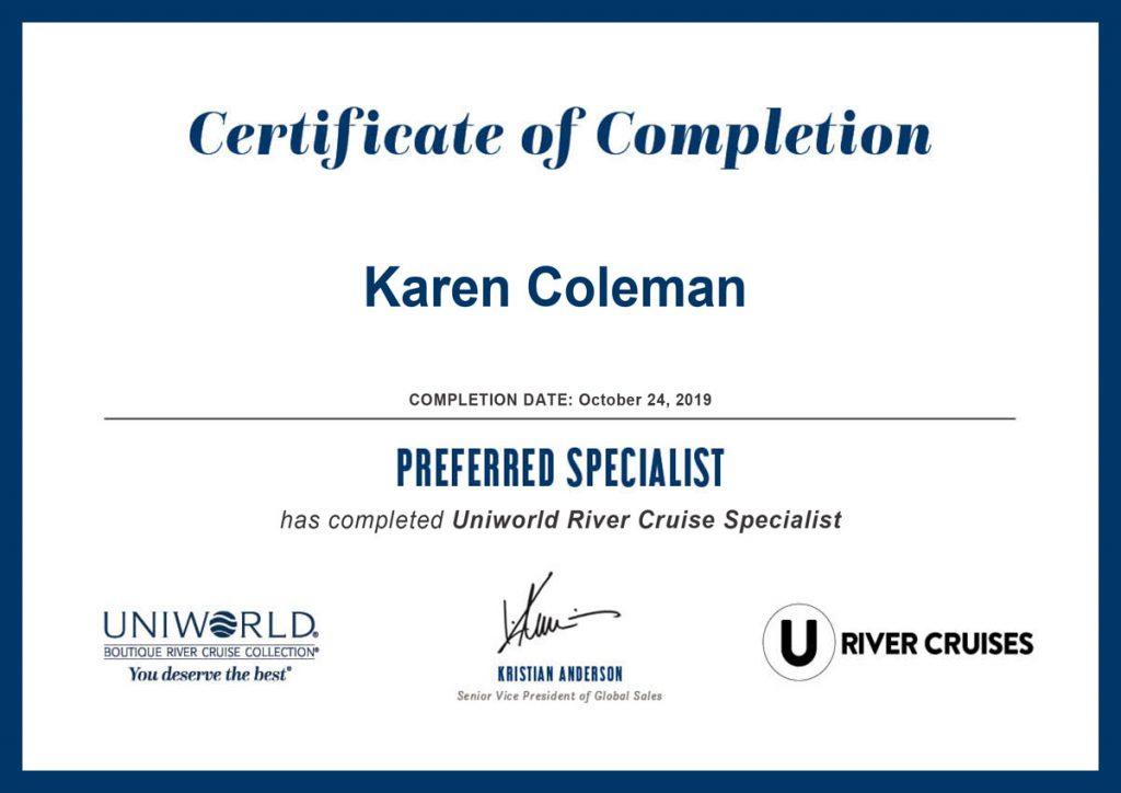 Uniworld River Cruise Preferred Specialist Certificate
