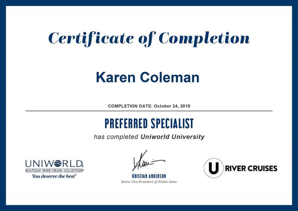 Uniworld University Preferred Specialist Certificate