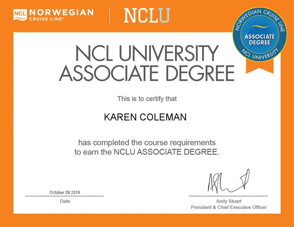 Certificate for Norwegian Cruise Line NCLU Associate Degree Oct 9, 2018