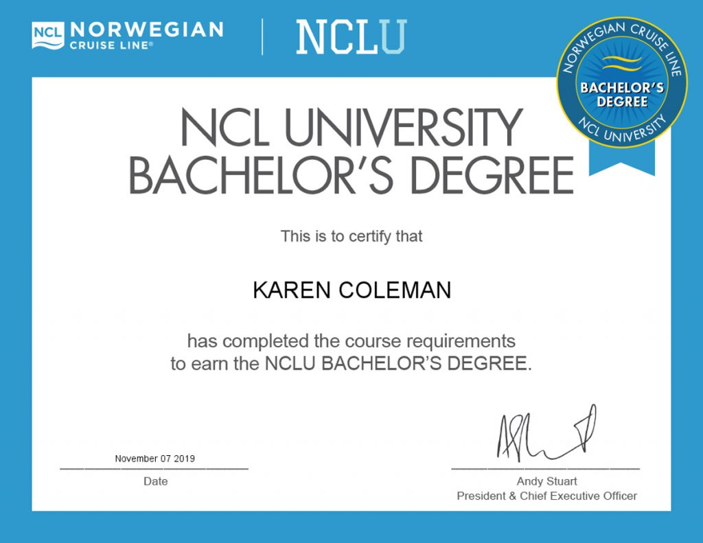 Certificate for Norwegian Cruise Line NCLU Bachelor's Degree Nov 6, 2019