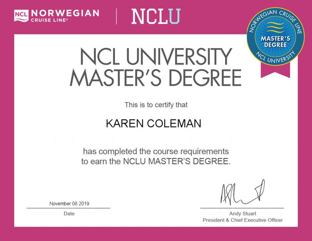 Certificate for Norwegian Cruise Line NCLU Master's Degree Nov 6, 2019
